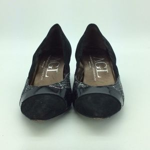 AGL Black & Grey Suede Pointed Toe Pumps Size 7.5